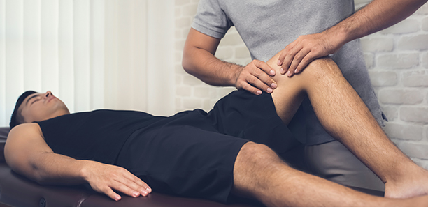 A physiotherapist working with a patient in a clinic.