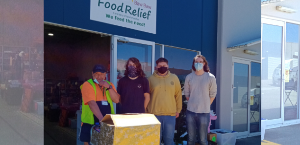 VCAL studnets with donatiosn boxes for food relief project