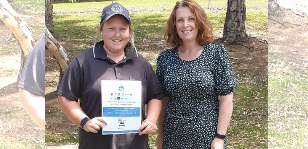 Miranda is pictured with Louise Underhill following the presentation of her Excellence Award