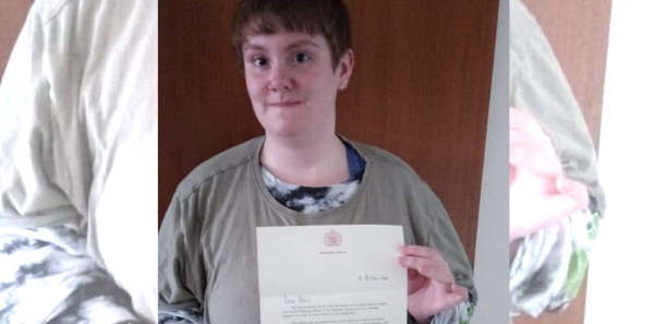 Alexis with her letter from Windsor Castle
